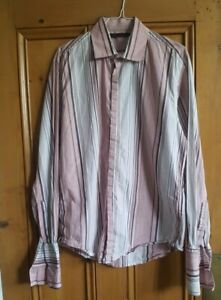 REISS Men's double cuff 'Theory' Slim fit striped shirt. Business. Size L.