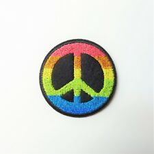 Colorful Rainbow Peace Sign Patch Iron-On/Sew-On Embroidered Applique, Hippie