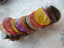 Beautiful multicoloured dyed MOP shell discs 3cm wide 98 gram stretch bracelet