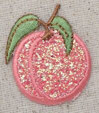 Glitter Peach - Pink Sparkle - Fruit/Food - Iron on Applique/Embroidered Patch
