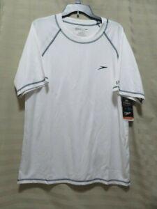 Speedo Men's UV Swim Shirt Short Sleeve Loose Fit Easy Tee - White - Size L