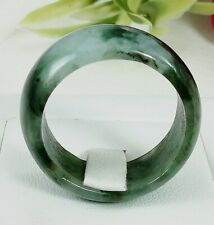 Wide Jade Men Ring Size 11.5 Natural Untreated Burmese Glossy White Green Fine