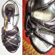 New SILVER FOILED Sandals Heels Shoes 5.5 STRAPPY - Nina New York