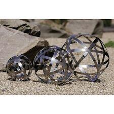 Garten Deko Kugel 'Cage' Edelstahl silber klein Durchmesser 20cm links NEU