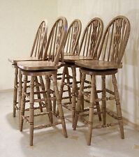 Amish-Made Oak Swivel Bar Chairs, Bentwood, Fiddleback, Spindles — FREE SHIPPING