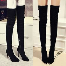 New Womens Suede Leather Slim Leg Over Knee High Boots Thigh High Heels Stiletto