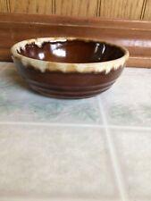 Vintage Western Stoneware Pottery Brown Drip Edge Bowl WS Maple Leaf