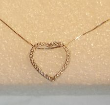 10K WHITE GOLD TWO DIAMOND HEART PENDANT 16 INCH BOX CHAIN NECKLACE N626-A