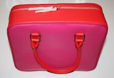 NEW Auth LANCOME Vanity Bag Rectangular Large Zip-Up Make-Up/Beauty Bag Pink Red