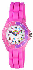 TIKKERS CHILDREN'S TIME TEACHERS RAINBOW PINK SILICONE STRAP WATCH - NTK0005