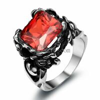 Vintage Black Stainless Steel Rose Shape Ring w Red Princess Cubic Zirconia