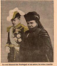 LE ROI MANUEL DU PORTUGAL ET SA MERE LA REINE AMELIE IMAGE 1909 OLD PRINT