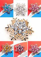 Vintage Art Deco style crystal snowflake brooch multiple colours