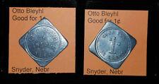 OTTO BLEYHL SNYDER NEBRASKA SET OF 5 GOOD FOR 1¢ 2¢ 5¢ 10¢ 25¢ IN TRADE TOKENS