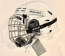 Bauer White Hockey Helmet Bhh7500 & True Vision Fm7500 - Size L