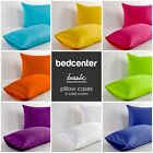 SOLID COLOR PILLOW CASE CUSHION COVER 100% COTTON 21 COLORS NEW (PAIR OF TWO)