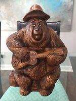"""Vintage Disney Big Al Bear Country Bear Guitar On Tree Stump Cookie Jar 12.5"""""""