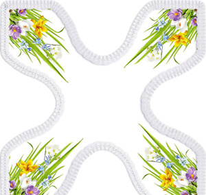Easter Novelty Tablecloth Doily Bunny Flowers Chicken
