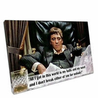 """Print on Canvas quote American gangster Tony Montana Scarface Wall Art 30""""x20"""""""