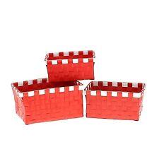 Tendance  Set de 3 paniers tresses rouge blanc