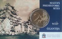 """25 x Coincard 2 euros Malte 2016 """"Ggantija""""  poinçonné Monnaie de Paris - UNC"""