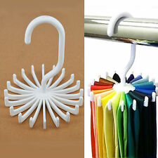 1Pc White 360° Rotation Neck Tie Rack Hanger Belt Scarf Holder 20 Hooks Supply
