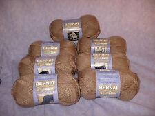 7 Skeins Bernat Softee Chunky Yarn Soft Taupe 100% Acrylic 3.5 oz. 180 Yds Each