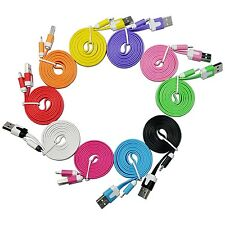 Wholesale LOT 100 x iPhone 5 6 Plus 8 Pin USB Cable Flat Noodle Charger Sync