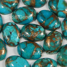 15 PCS LOT RECONSTRUCTED BLUE COPPER TURQUOISE 13X18 MM OVAL CABOCHON LOOSE