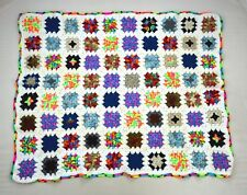 Vtg Multi Color Neon Retro Granny Hand Crochet Knit Afghan Throw Blanket 42 x 54