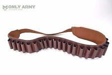Vintage Brown Leather Bandolier Military Pattern Shotgun Ammunition Ammo Belt