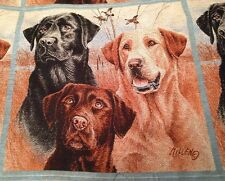 Hunting Dogs Chocolate Black Yellow Labrador Tapestry Fabric Pillow top 2 Panels