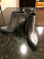 Anthropologie Silver Sparkle Leather Booties, Size 38/7.5, New!
