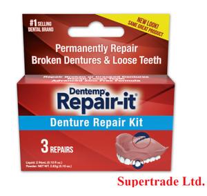 Dentemp Repair-it Emergency Dental Repair Kit Broken Loose Dentures - 3 Repairs