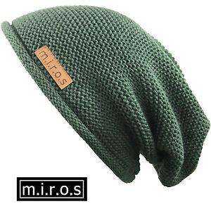 Herren Long Beanie Mütze Alex Olive Grün handgemachte Wintermütze von m.i.r.o.s