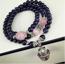 Natural Blue sandstone Lucky cat pearl crystal beads multi-layer beaded bracelet