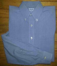 Blue White Brown Grid 16-5 BROOKS BROTHERS L/S Relaxed Fit Dress Shirt! c428