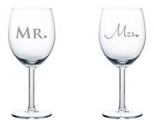 Pair of Wine Glasses White or Red Wine 10oz Mr. & Mrs. Wedding Anniversary Gift