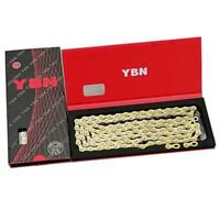 YBN 11 Speed Bike Chain MTB Mountain Road Bicycle Boxed Chain Gold Hollow Design