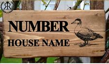 Personalised Wooden House Duck Name Plaque Sign - Solid wood Porch Conservatory