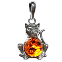 2.94g Cat Authentic Baltic Amber 925 Sterling Silver Pendant Jewelry N-A1677