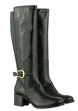 MORI MADE IN ITALY KNEE HEELS BOOTS STIEFEL STIVALI SHOES LEATHER BLACK NERO 43