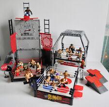 WWE RUMBLERS WRESTLING BATTLE RINGS + TRANSFORMING TOUR BUS BUNDLE + WRESTLERS