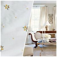 SALE! Beaded Floral 100% Silk Taffeta Fabric - Ivory W/ Yellow Beaded Flowers