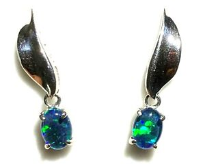 Natural Opal Triplet Fashion Birthstone Anniversary Earring