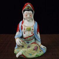 """10.4"""" Chinese Porcelain Famille Rose Buddhism Sit Kwan-yin Bodhisattva Statue"""