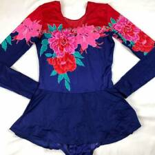 Vintage 70s 80s Ice Skating Leotard Adult Women M Floral Skirt Costume Dance