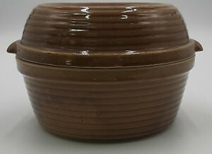 Brown Dutch Oven Stoneware 2 Qt. Bean Pot Beehive Ribbed Covered Dish