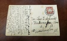 Vintage Post Card With A stamp of Germany Traveling To USA .(P4)
