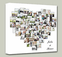 Personalised Heart Shape Collage Canvas - photo canvas Print